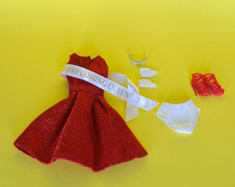 Superstar Barbie Vintage Red glimmer short party dress Homecoming with gloves, underpants, sash, tiara, and shoes