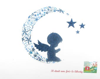 Applied fusing Ange Petit boy praying in liberty Adelajda blue, and fabric glitter applique liberty iron on patch badge