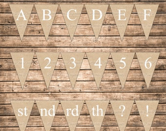 DIY Instant Download Burlap With White Letters Printable Alphabet Letters Numbers Abbreviation Punctuation Marks Banner Bunting Pennant Sign