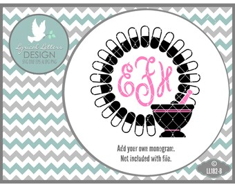 Pharmacy Monogram Frame Pharmacist Technician  LL182 B - SVG - Cut File - Includes ai,svg (Cricut) ,eps, dxf(for Silhouette users), jpg, png