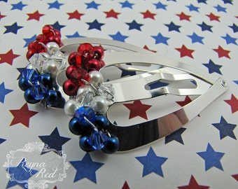 July Barrettes - 1 pair - tricolor glass pearls, Swarovski crystals, steel heart snap clips for girls, teens, and women by reynared