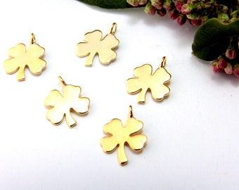 """Mini Gold Plated Charms, 5pcs 0.51"""" Gold Plated Clover Charm, Tiny Brass Metal Pendant Charm,Turkish Jewelry Findings, Gold Plated Charms"""
