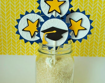 Graduation Party Cupcake Toppers - Preschool Graduation Cake Toppers - Graduation Cupcake Picks - Kindergarten Graduation (set of 12)