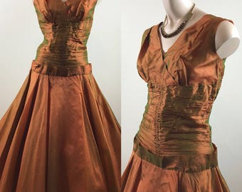 Vintage 1950s Copper/Green Crystal Georgette Party Dress Formal Dress XS