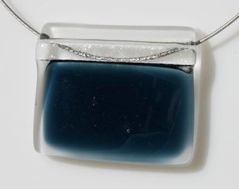 Dark Navy Blue Fused Glass Pendant