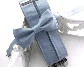 Dusty Blue Suspenders, Bow Tie or Set, Serenity Blue, Adult or Children, Made in the USA, Use code TENOFF5 at checkout for 10% off 5 or more