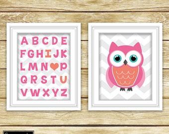Alphabet Wall Art Pink Coral Owl Nursery Decor I Love You Toddler Girl's Room ABC Printable Set of 2 11x14 Digital JPG Instant Download (23)