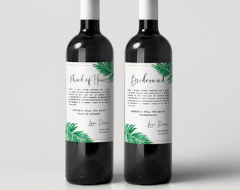 Will You Be My Bridesmaid wine labels, Tropical bridesmaid Definition Labels - Ask Bridesmaid Card - Bridesmaid Proposal Gift