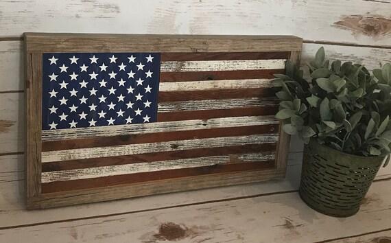 042471be730 Wooden American Flag 5 US Flag Wall Art Veteran Made