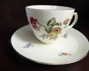 Vintage Royal Copenhagen Denmark Signed Tea Cup and Saucer Frijsenborg Collection 910  1870 Dated 1952