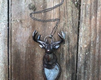 Spirit Animal/ Deer Animal Guide / Stag Totem/ Crystal Electroformed Necklace/ Labradorite Crystal