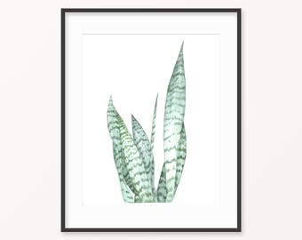 Botanical print, green watercolor leaves, cactus print, watercolor print, light green botanical print, botanical watercolor, plant wall art