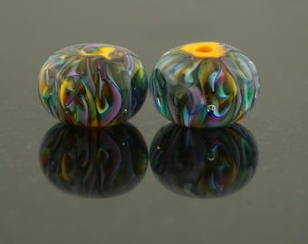 Multi color over ocher earring pair
