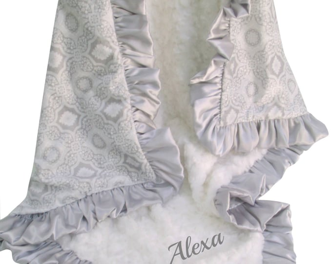 Silver Gray and Cream Printed Minky Blanket, 3 sizes