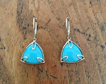 Real Turquoise and Gold Triangular Earrings