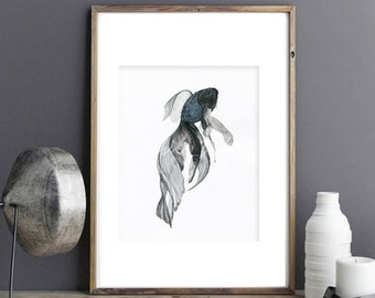 Goldfish illustration watercolor digital art prints, zen japenese modern illustration home decor wall art gift, black& white meditation 02
