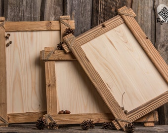 Handcrafted reclaimed wood poster frame