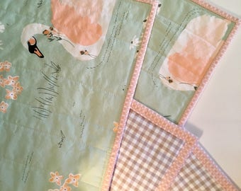Wholecloth Quilt, Baby Quilt, Swan Quilt, Baby Blanket, Gift for Baby, Baby Shower Gifts, Green, Coral, Play Mat, Modern Baby Quilt