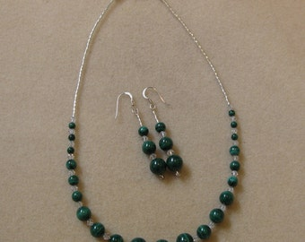 Necklace and earrings - Graduated malachite, Swarovski crystals and liquid silver, handmade in Hilo, Hawaii, HiloBeads