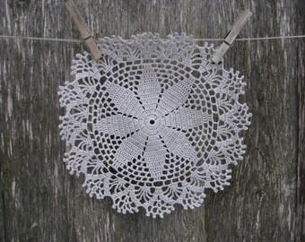 Crochet Doily Silver Grey Doily Doilies set Doily Natural Lithuanian Linen Crochet Doily