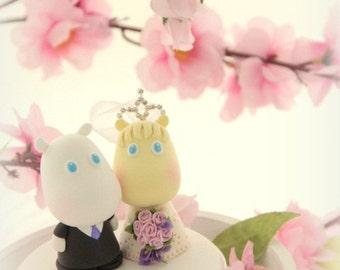 hippo Wedding Cake Topper-love Hippo with sweet heart base---k719