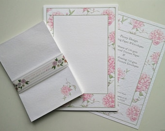 Writing Paper and Envelopes Set, Peony Border design