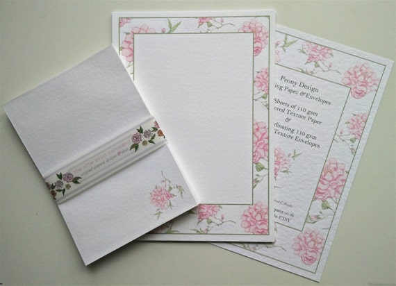 Writing paper and envelopes set peony border design like this item bookmarktalkfo Images