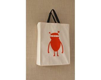 Canvas Bag, Free Shipping, Orange Ninja Monster Reusable Grocery Bag, Eco Friendly Bag, Reusable Bag