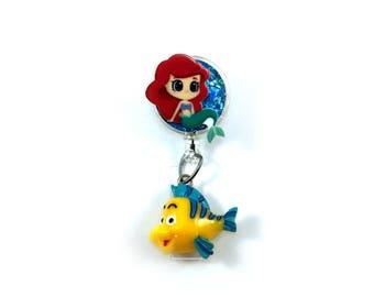 Disney Princess Ariel Little Mermaid Inspired ID Badge Reel - Gift for office, nurse, teacher, doctor, tech!