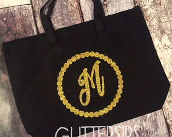 Personalized Large Glitter Black Zippered Canvas Tote Bag // Canvas Tote Bag // Personalized Tote // Tote Bag // Zippered Tote