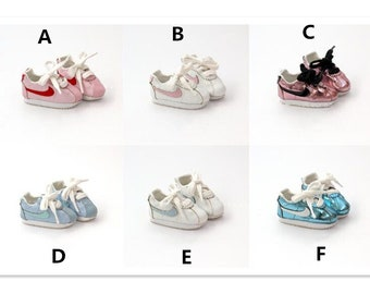 1/6 BJD YOSD Doll Shoes for Dolls,Casual Sneakers Sports Shoes for kikipop BB 1/6 Doll,Mini Doll Boots Lace-up Gym Shoes for Dolls 6 Colors