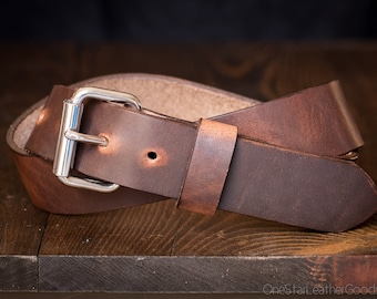 "Custom sized belt, 1.5"" width, Horween Dublin leather, heel bar buckle - brown nut"