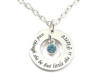 Stainless Steel Though She Be But Little She Is Fierce Birthstone Necklace, Shakespeare Quote Inspirational Quote, Mother Daughter, Adoption