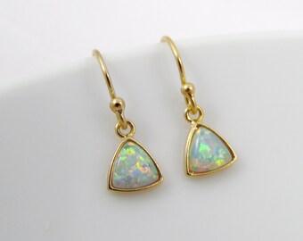 Tiny opal earrings, opal dangle earrings, white opal, blue opal, October birthstone, birthstone earrings