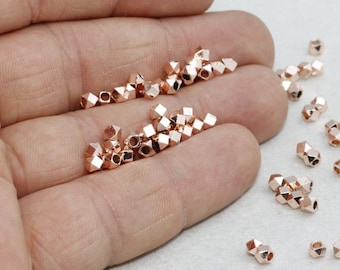 3mm Rose Gold Faceted Beads, Rose Gold Diamond Beads, Oval , Solid Brass, Rose Gold Spacer Beads, ROSE283
