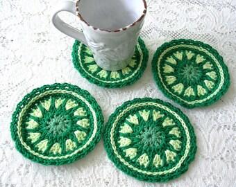 Green Modern Crochet Coasters Set – Drink Coasters - Handmade Coaster - Cottage Decor Crochet Coasters - Rustic Decor