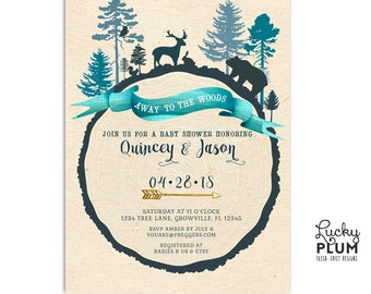 Woodland Forest Baby Shower Invitation / Winter Woodland Baby Shower Invitation / Deer Baby Shower Invitation / Couple Coed Twin Invitation