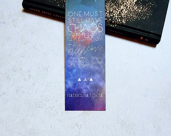 Friedrich Nietzsche Literary Quote Galaxy Bookmark, fathers day gifts, bookworm gifts, literary gifts, book quotes, motivational quotes