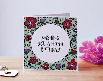 Pretty Birthday Card, Happy Birthday Card, Birthday Card For Her, Flower Birthday Card, Birthday Card For Girl, Cute Birthday Card