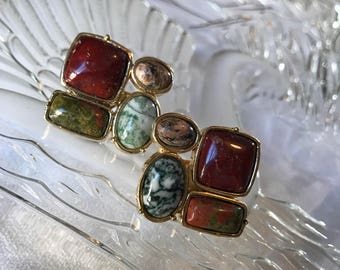 Vintage 70's  Goldtone & Polished Natural  Precious Stones Mid Century Modernist Clip on Earrings