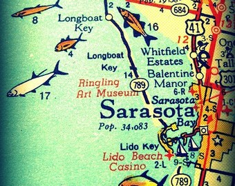 Sarasota map art, Sarasota Gifts,  Siesta Key Map, Sarasota Florida map art print 8x10, Retro Florida map art  Bradenton Longboat Lido Key