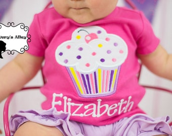 Big Cupcake -  Girls Personalized Birthday Applique Shirt & Matching XL Hair Bow Set with Puff