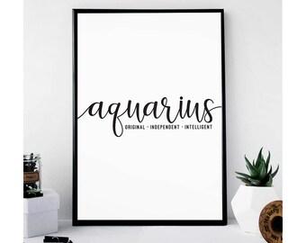 Aquarius | Zodiac Art Print | Astrology Gifts | Zodiac Gifts | Horoscope Gifts | Typography Print | Typography Wall Art | Dorm Decor