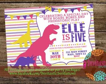 Dinosaur Girl Birthday Invitation, Dino, T-Rex, Brontosaurus, Triceratops Birthday, Dinosaur theme birthday invitation - Girl Dinosaur Party