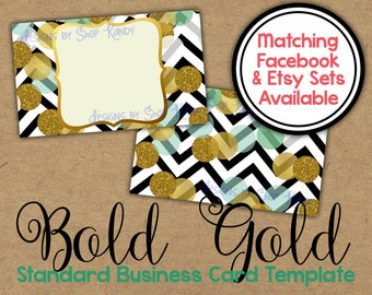 Gold Glitter Business Card - 2 sided Gold Business Card - Vista Print Business Card Template - Glitter Shop Graphics