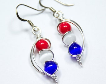 Red White and Blue Earrings, 4th of July Outfit, Patriotic Jewelry, Independence Day, American Flag, Wrap Earrings, Bead Earrings