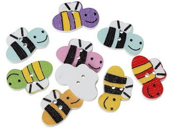 14 Wooden Bumble Bee Buttons - #SB - 00117