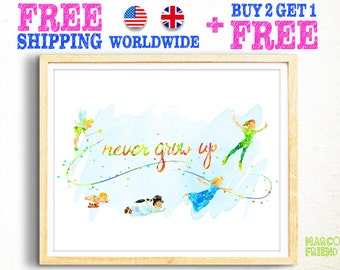 Disney Peter Pan Never Grow Up Watercolor Art Print Poster - Home Decor - Wall Art - Kids Decor - Nursery Decor - Christmas Gifts - 235