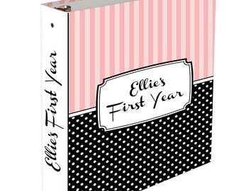 Custom Baby Memory Book - 3 ring binder - Baby Book Striped Boy or Girl Baby book Stripes Polka Dot Binder Baby Shower Gift