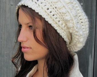 Slouchy Bobble Beanie Winter Hat Women Hat Alpaca Wool Beanie Cap Handmade - Winter White or CHOOSE color